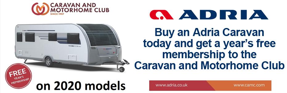 Adria 1 Year FREE Caravan Caravan and Motorhome Club Membership